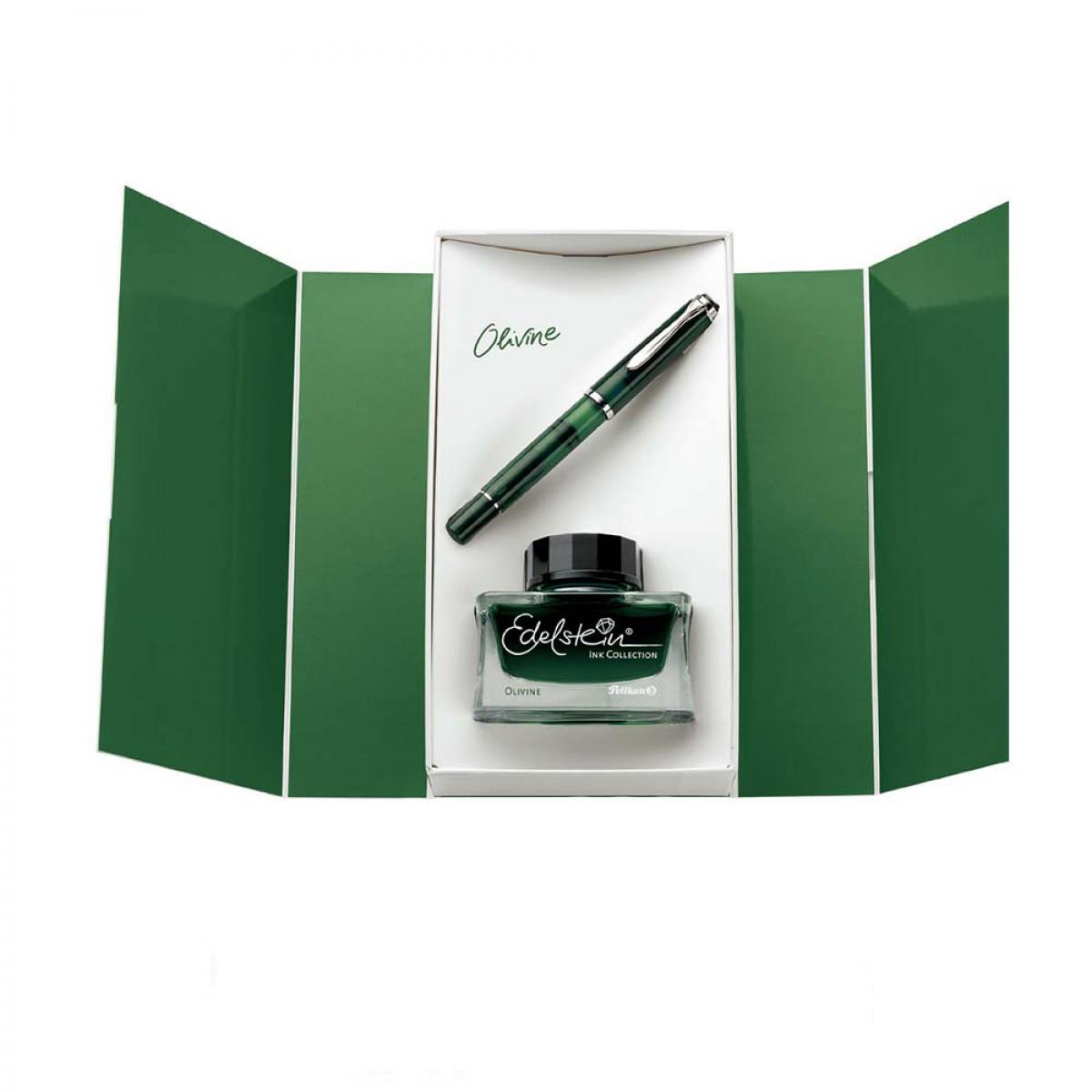 pelikan-classic-m205-transparant-olivine-special-edition-fountain-pen-vulpen-set