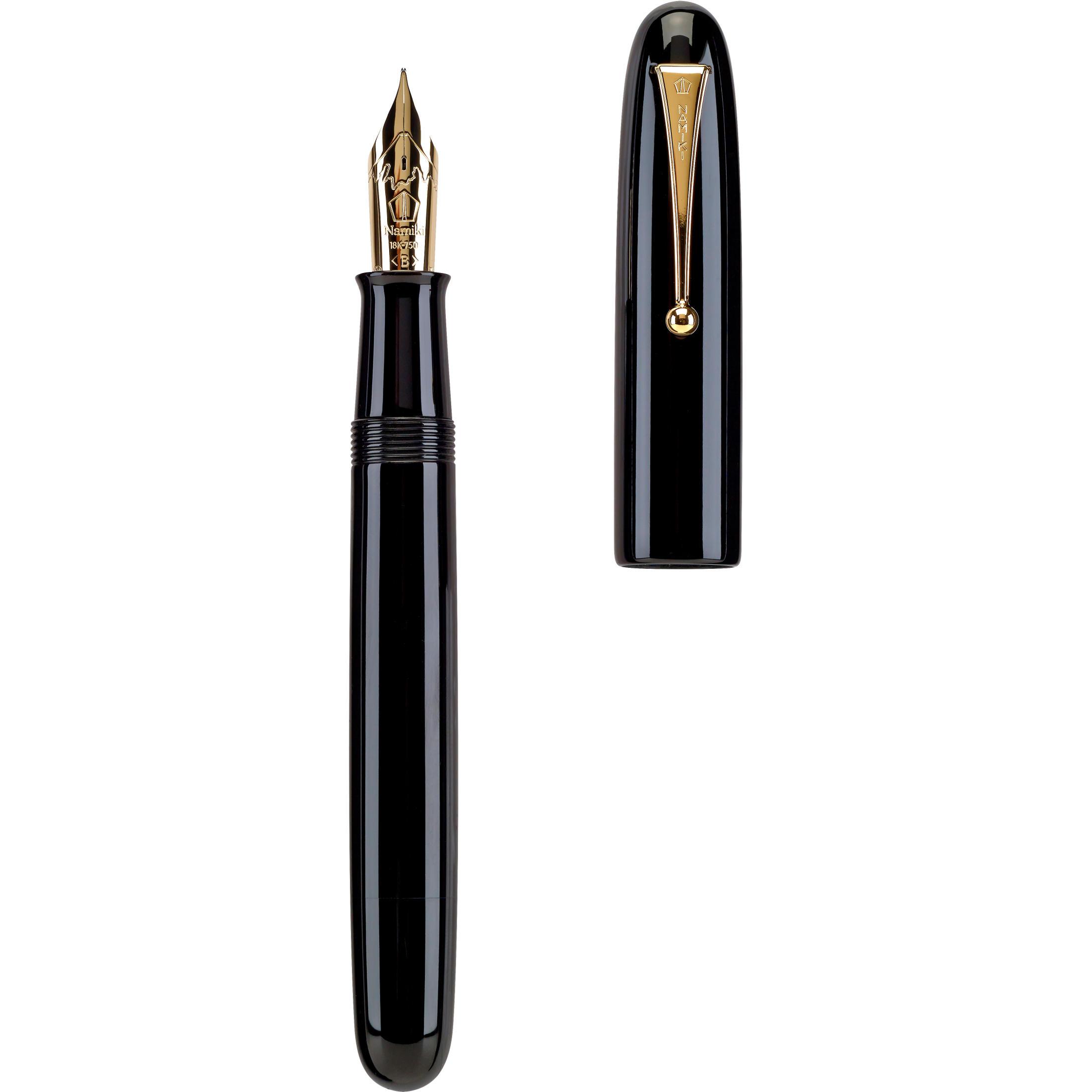 Namiki_Emperor_Black_Urushi_fountain_pen_uncapped