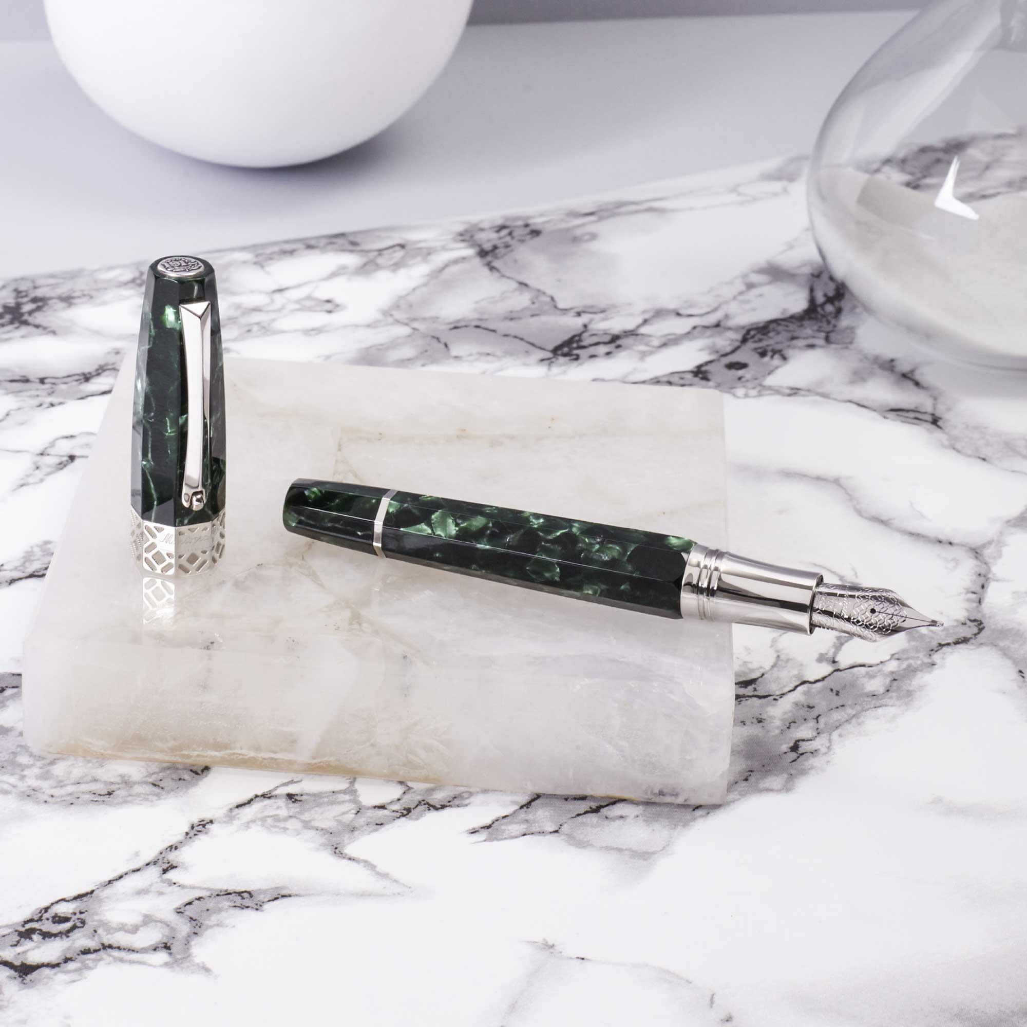 Montegrappa-Extra-Otto-Malachite-fountain-pen-open-nibsmith
