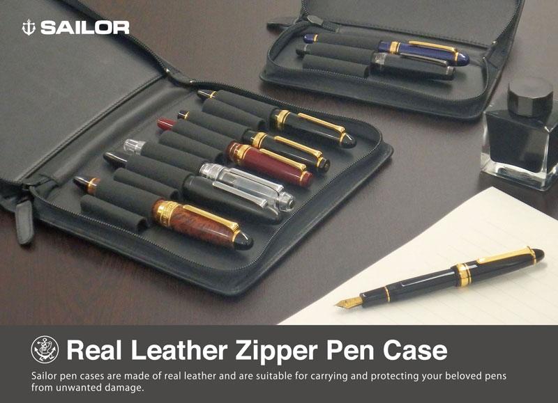 sailor 3-slot and 10-slot pen case